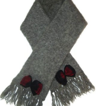 Slate Light Gray Womens Short Thick Wool Winter Accessory Scarf with Fringe
