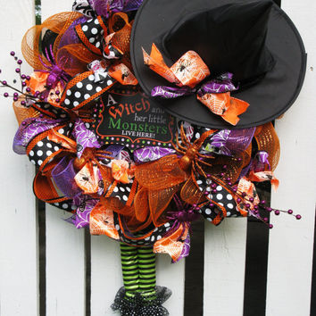 Witch Wreath Halloween Witch Wreath Witch Hat And Legs Wreath Halloween Wreath