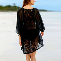 Sexy Lace Chiffon Women Blouse Kimono Cardigans 2017 Summer New 3/4 Sleeve Back Crochet Hollow Out Sexy Tops Blusas Plus Size