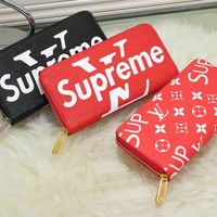 """Louis Vutitton×Supreme"" Unisex Purse Fashion Zip Long Section Letter Logo Print Couple Wallet Clutch"