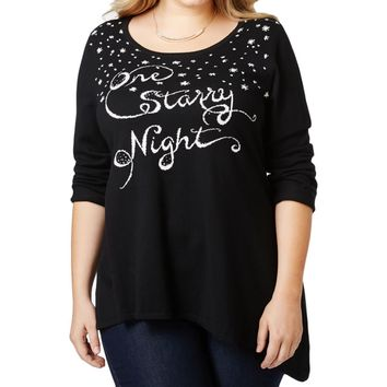Style & Co. Womens Plus Embellished Graphic Sweater