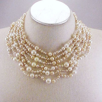 OOAK One of a Kind RePurposed Vintage Mixed Faux Pearl Bead Egyptian Collar Bib Necklace Gold Tone Findings