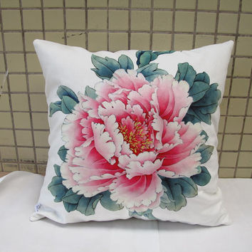 Decorative Velvet Pillow Cushion Cover Peony Floral Pillow Artwork Printed Double Sides Pink Peony in White Or Black