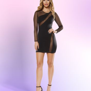 Roma 3340 Long Sleeved Dress with Sheer Mesh