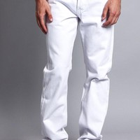 Men's Straight Fit Colored Denim Jeans DL105 (White)