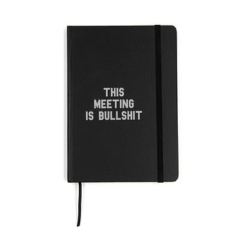 This Meeting is Bullshit Slim Journal Notebook in Black and Silver