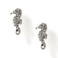 Silver and Black Sparkly Seahorse Stud Earrings – Claire's