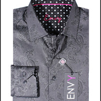 Envy Men's Long Sleeve Button Down Black Paisley Dress Shirt 51012-01