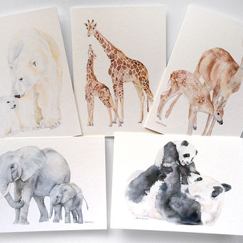 Mother and Baby Animal Watercolor Card Set