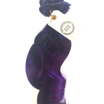 """Purple Rain Ombre Hair Extensions, Deep Purple and Violet Hair Extensions, Ombre Hair Extensions, Clip In Human Hair Extensions, 16"""""""