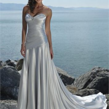Column Sweetheart Satin Beach Wedding Dress WDB016