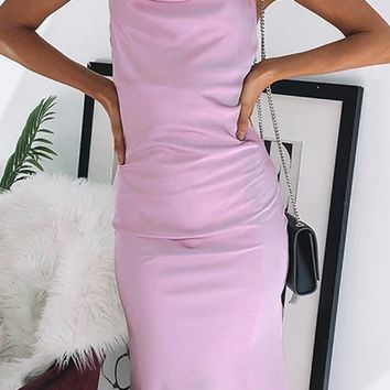 Festive Delights Satin Sleeveless Spaghetti Strap Slip Midi Pencil Open Back Dress - 2 Colors Available