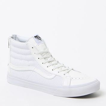 Vans SK8-Hi Slim Zip White High-Top Sneakers - Womens Shoes - White