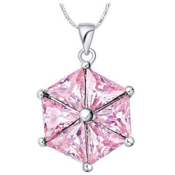 18K White Gold Plated  Cubic Zirconia Diamonds Pendant Necklace [7279348743]