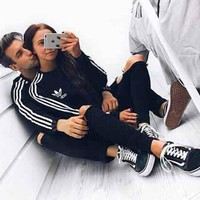 ADIDAS Trending Women Men Lovers Two Piece Suit Sports Set Side Line Stripe B104504-1 Black