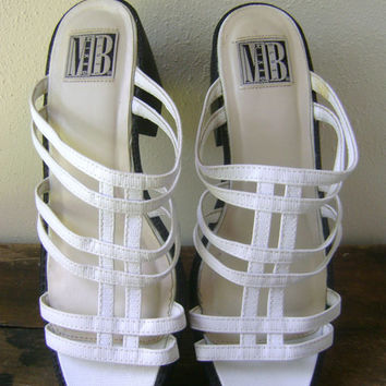 White Chunky Heel Caged Sandals Vintage 90s Club Kid Girlie Grunge Womens Size 8 Summer Open Toe Shoes 1990s Ladies Clueless Slides Mules
