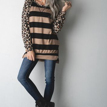 Black and Mocha Striped Tunic Top with Leopard (S-XL)