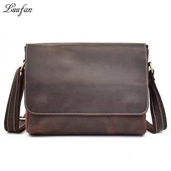 Men's Vintage Crazy Horse Leather shoulder bag Brown genuine leather Shoulder bag cowhide Messenger Bag work bag casual