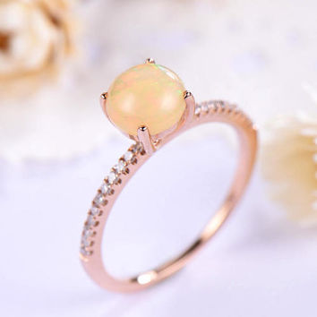 opal engagement ring rose gold 14k/18k Unique ball prong or 925 sterling silver with Man made CZ diamond Stacking promise ring