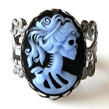 cameo ring lolita ring gothic gunmetal ring skull cameo victorian lady blue on black adjustable ring