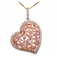 GIA Fancy Light Pink Diamond Gold Heart Pendant