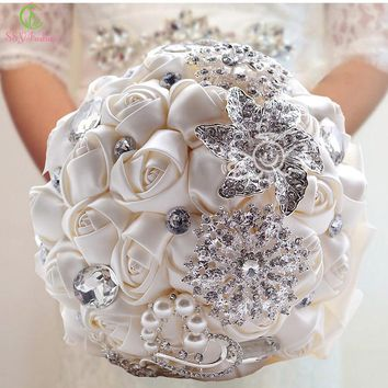 Bouquet Luxury Satin Rose Flowers with Crystal Wedding Bouquets Pearl Bridesmaid Wedding Accessories
