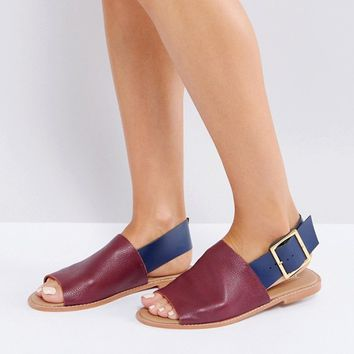 ASOS FLEET STREET Leather Flat Sandals at asos.com