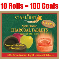 Starlight Apple Flavor Charcoal Box of 100 Quick Hookah Coals