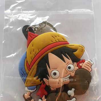 Brand New Anime One Piece Luffy eating Keychain