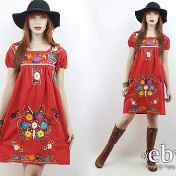 Vintage 70s Red Embroidered Mini Dress S M Red Mexican Dress Embroidered Dress Hippie Dress Hippy Dress Boho Dress Festival Dress