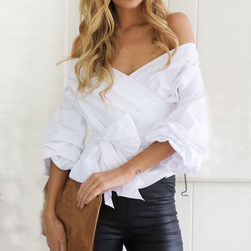 Women's White Off the Shoulder Criss Cross Front Tie Blouse