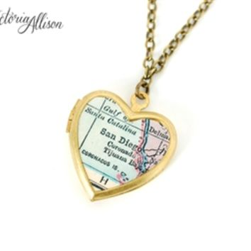 San Deigo Map Necklace on Small Vintage Heart Locket - California Antique Map Jewelry