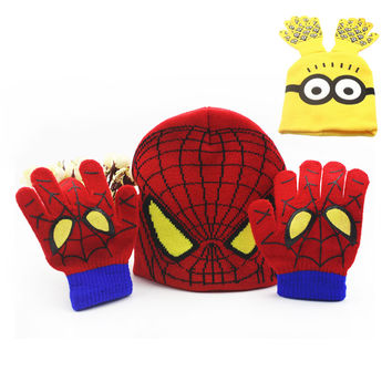 48 sets Fashion Winter Cotton Minions Spiderman Knitting Hat Glove Sets For Baby Kids Warm Children Beanie Knitted Hat Xmas Gift