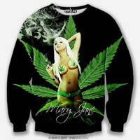 Mary Jane All Over Print Weed & Girl Green & Black Crew Neck Sweatshirt