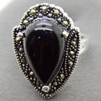 Free shipping >>>>>>RARE STERLING SILVER MARCASITE BLUE GOLDSTONE RING 925 STERLING SILVER SOLID