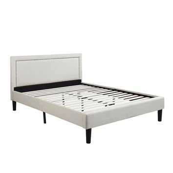 Full size Modern Classic Upholstered Platform Bed with Ivory Linen Padded Headboard