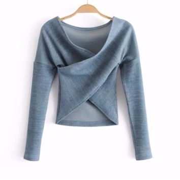 FREE SHIPPING Spring sexy slim chest cross - sleeve knitted sweater