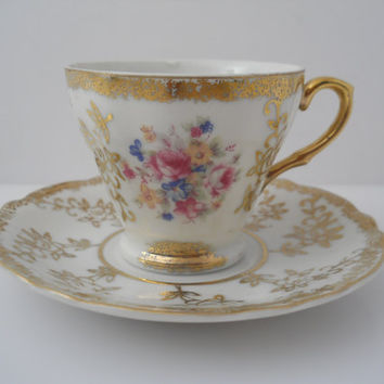 Teacup & Saucer Floral Print Made In Japan Fine Porcelain Tea Cup c 1970s