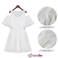 [S-XL] White Elegant Chiffon Dress SP151816
