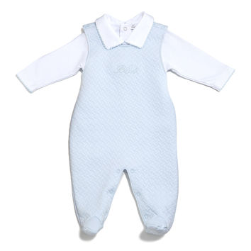 Bébé Jacquard Footed Overall Set, Blue, Size 0-9 Months, Size: