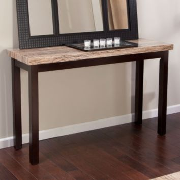 Solid Wood Frame Console Sofa Table with Faux Marble Top