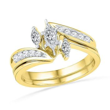 10kt Yellow Gold Women's Marquise Diamond 3-Stone Bridal Wedding Engagement Ring Band Set 1/2 Cttw - FREE Shipping (US/CAN)
