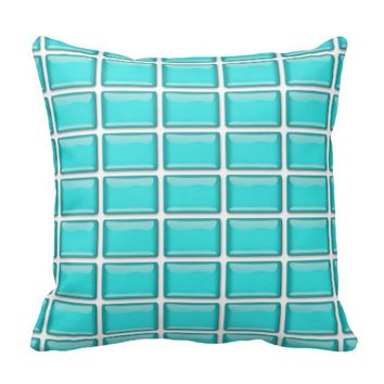 Modern Shiny Turquoise Blue Tiled Pattern Throw Pillow