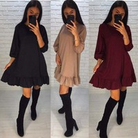 Womens Sexy Plus Size Long Ladies Casual Party Mini Dress Tops Ladies Female Brief Solid Daily Dresses designer clothes