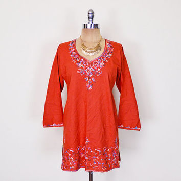 India Top India Shirt India Tunic India Blouse India Embroider Blouse Embroider Shirt Embroider Top Embroider Tunic 70s Hippie Boho S M L