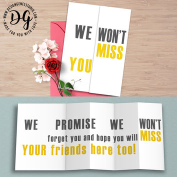 """Funny retirement farewell card """"We won't miss you"""" hidden message card"""