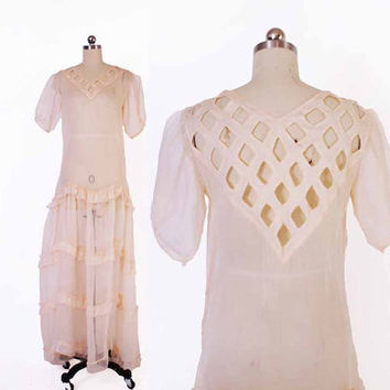 Vintage 30s Sheer DRESS / 1930s Ruffled Cut-Out Detail Puff Sleeve Peach Voile Garden Party Gown M