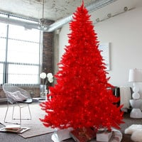 7.5 FT Red Pre-Lit Faux Christmas Tree