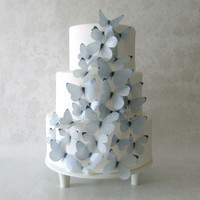CAKE TOPPER - 30 Gray Edible Butterflies - Cake Decorations - White Wedding