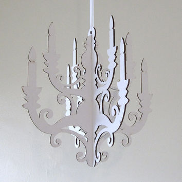 White Chandelier Small Laser Cut Cardboard DIY
